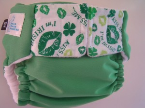 BearWare Pocket Diapers Size Medium Kiss Me I'm Irish