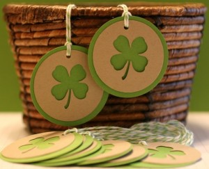 Lucky Shamrock Tags- Set of 6 -- Handmade by PaperSouffle