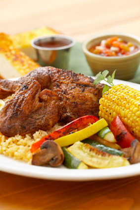 chicken corn and veggies grilled with salsa